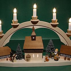 Lichterbogen Weihnachtsmann mit Kind, Wehrkirche/Häuser